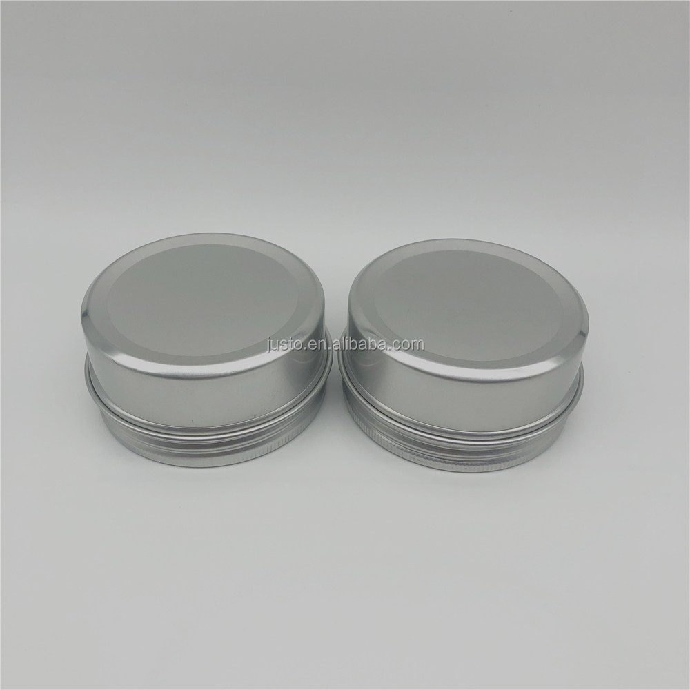 80ml Wholesale Silver Empty Aluminum Cosmetic Packing Tin Jar with Screw Lids China Supplier