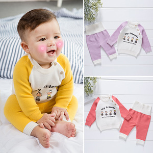 NS1991 Wholesale New Fashion O-3 Years Babies Casual Knitted 2 Pieces Sweater Clothes Sets