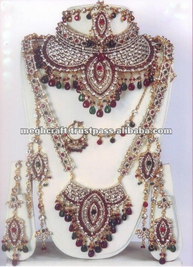 Online Bridal Jewellery Set Indian Jewelry Bollywood Designer Necklace With Maang Tika