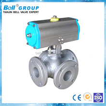 DN25 Pneumatic 3 Way T Type Ball Valve for Oil