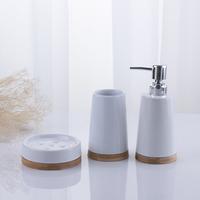 White Ceramic Accessories Set For Bathroom