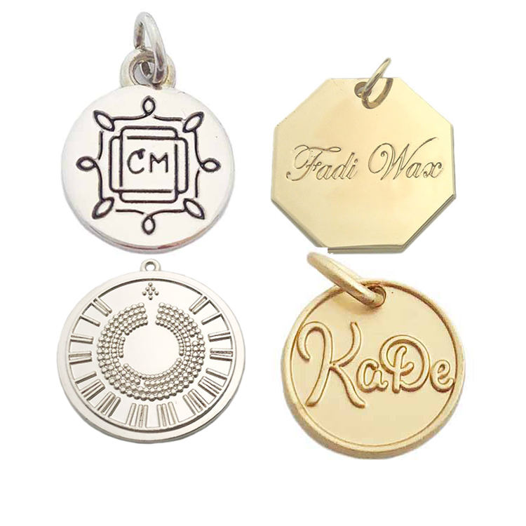 Factory price stamped matte gold silver brand logo custom metal pendant charm hang jewelry tags for necklace