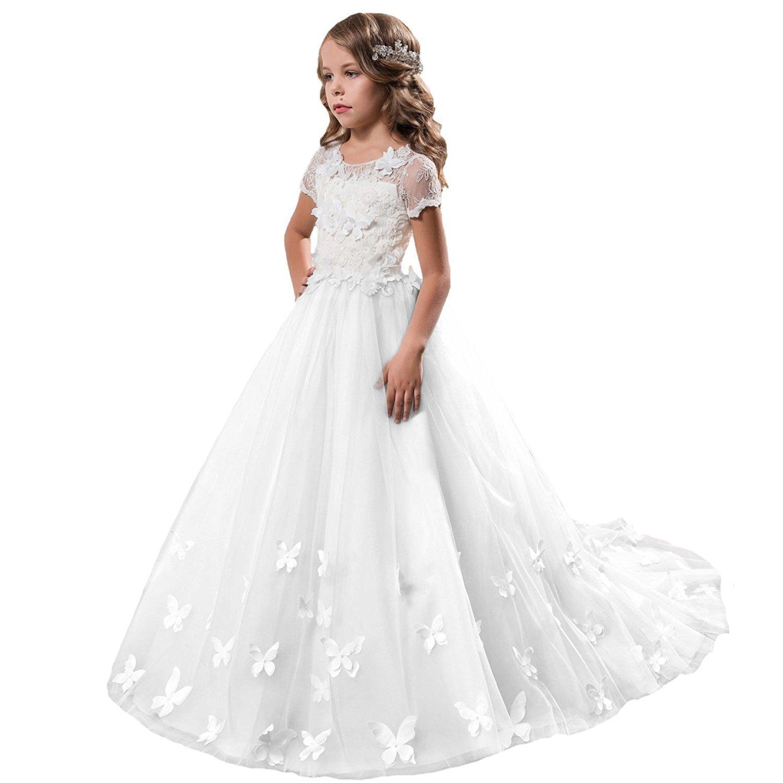 46ea752038d Get Quotations · GU ZI YANG GZY Lace Embellished First Communion Dress  Princess Flower Girl Dress GZY008