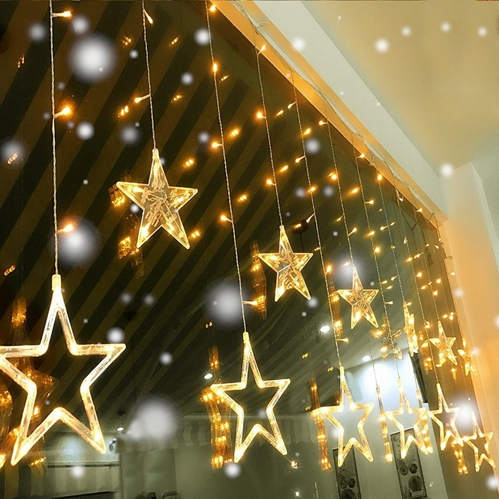 Led String Star Curtain Lights Warm White Decor 12 Stars 138 LEDs Window Icicle DIY Lighting for Wedding/Christmas/Holiday/Party