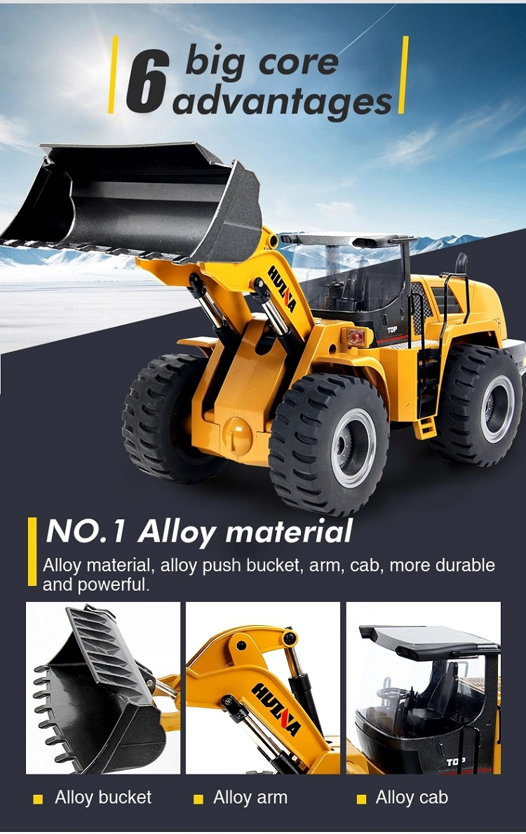 SJY- 1583 ABS Alloy Material Simulation Sound 4 Driving Force RC Excavator Toy