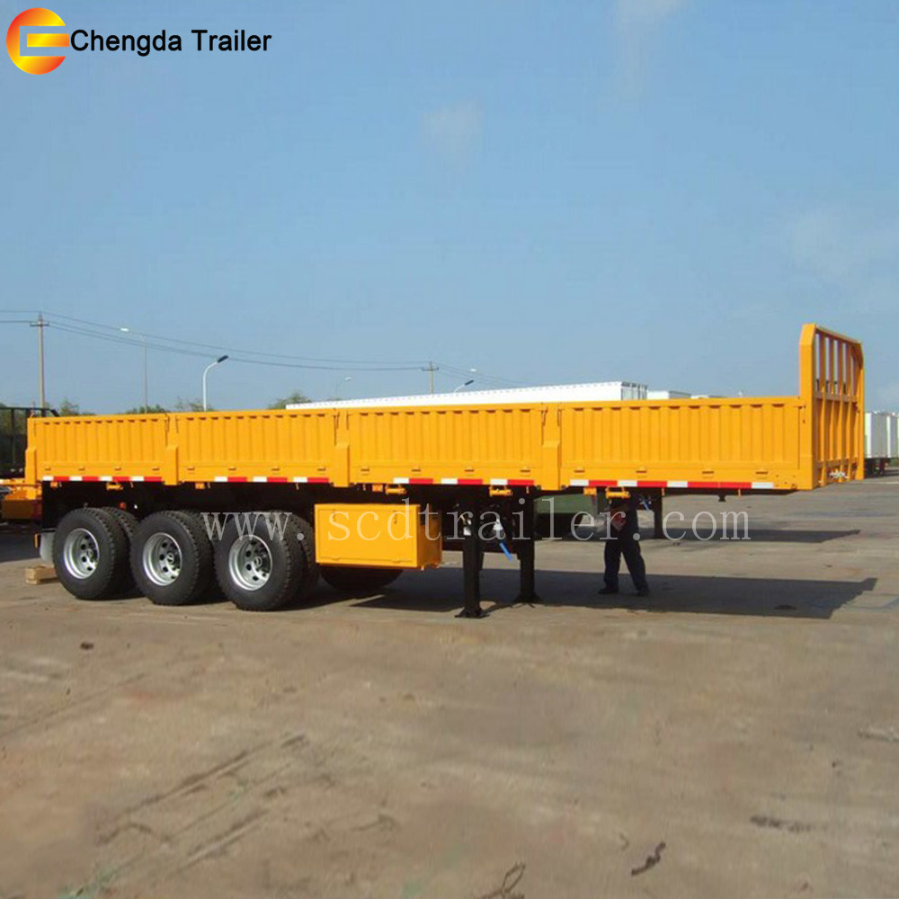 12wheelers 40ft 40ton tri axles side wall fence cargo trailer for Africa