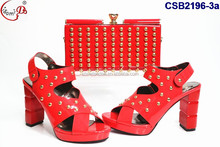 New arrival Hot Sale Wedding bridal shoes and bag available big size women high heel shoes and bag