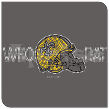 WHO DAT rhinestone transfer Saints rhinestone motif iron on