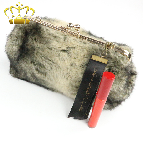 Imitation Animal Fur Ladies OEM Evening Satchel Hand Bag
