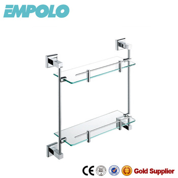 Bathroom Accessories Double Tier Glass Shelf Wall Hanging Glass