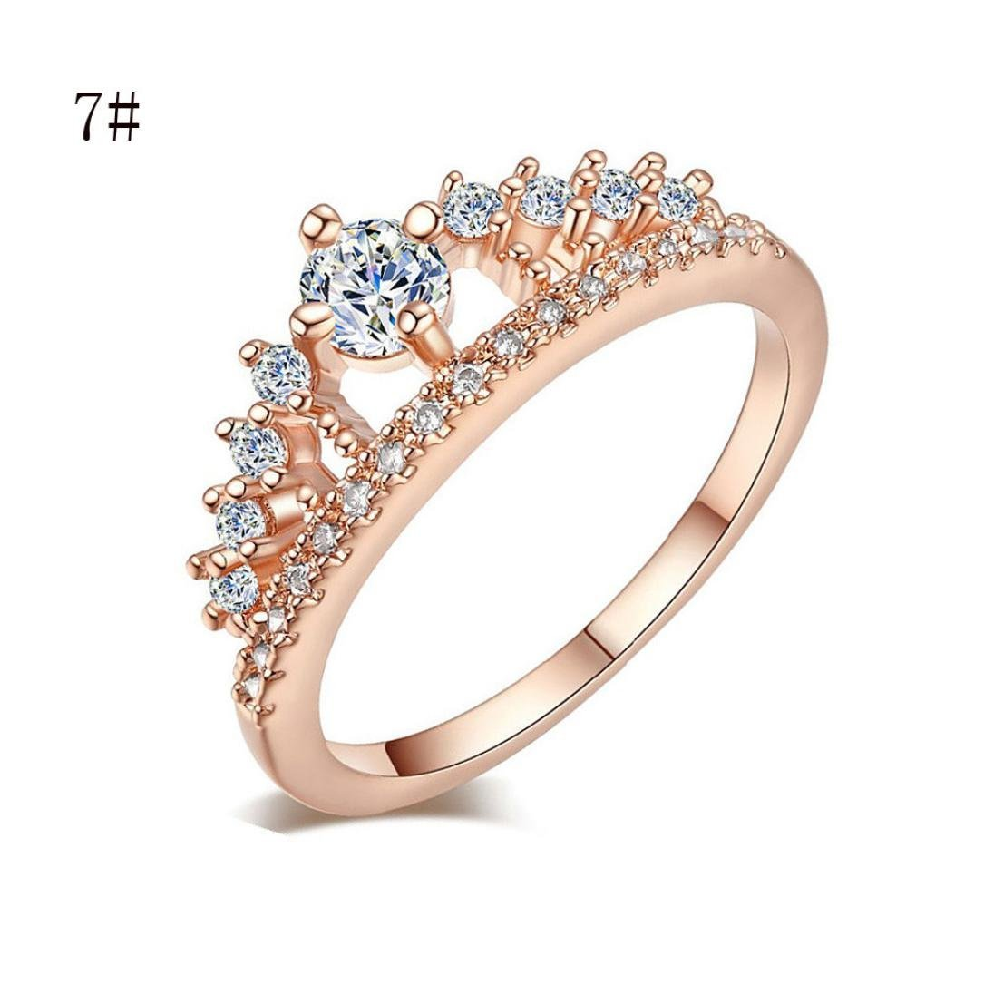 Lady Jewelry Ring,Hemlock Women Girl's Simple Pretty Crown Crystal Ring Princess Fingers Rings (Rose Gold-7)