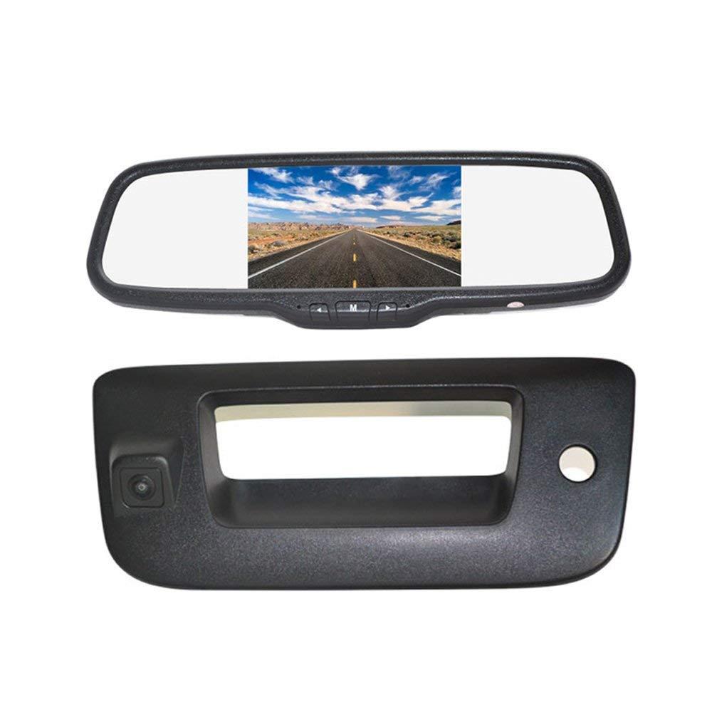 "Vardsafe   Tailgate Reverse Backup Camera + 5"" Clip-on Rear View Mirror Monitor for GMC Sierra 1500 2500 3500 (2007-2013)"
