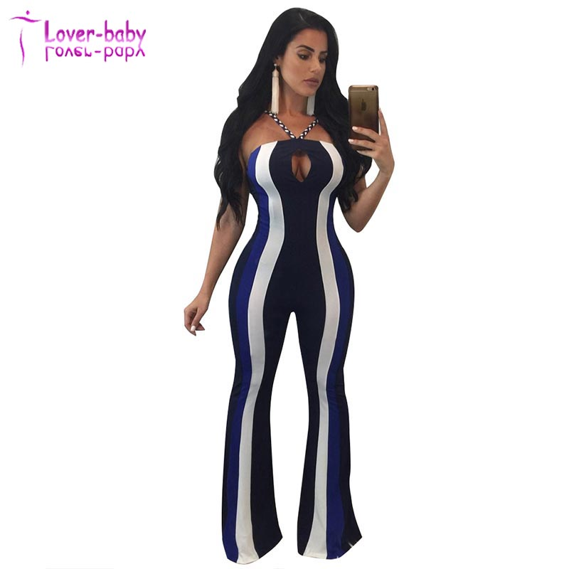 Plus Size Emmalie Navy Stripes Halter Neck Womens Jumpsuits Sexy Bodycon L55355