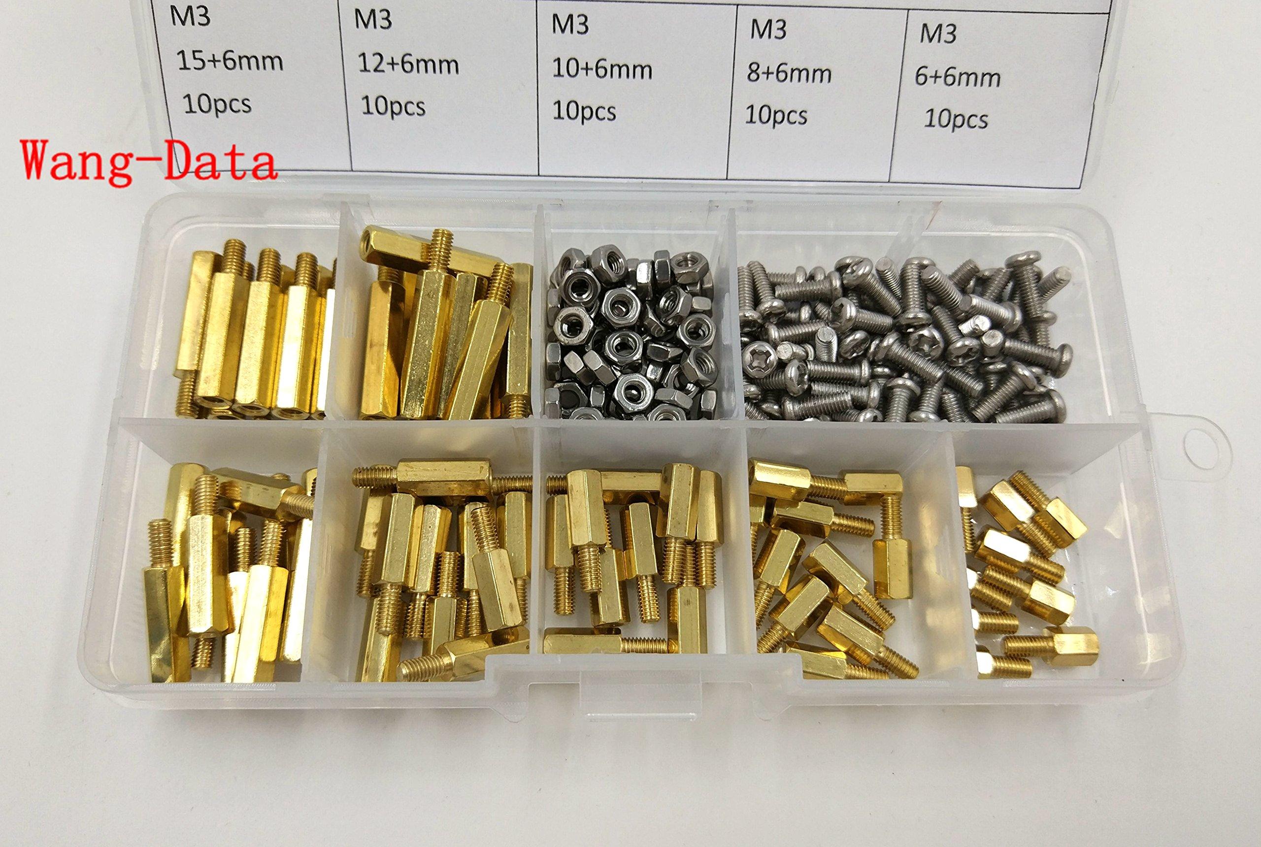 Wang-Data 210pcs M3 Male Female Brass Spacer Standoff/Stainless Steel Screw/Nut Assortment Kit