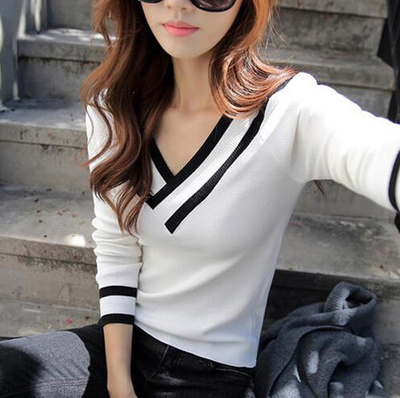 2016 Lastest Fashion Personality V-neck Women Long Tshirt Korea Style Thin tshirt
