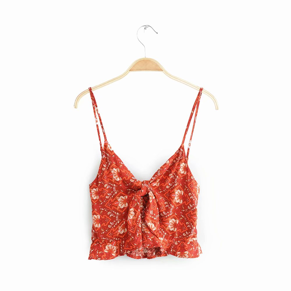 Sexy front bow tie design red color floral printed crop tops ladies wholesale summer clothing фото