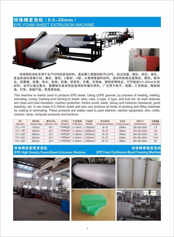 4-20MM FLY-200 Hot Sell High Performance EPE Foam Sheet Making Machine Manufacturer For China