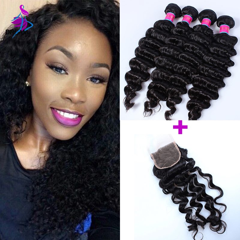 4 Bundles Brazilian Virgin Hair Deep Curly With Lace Frontal Closure Brazilian Hair Lace Frontal Closure