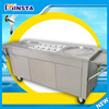 Double round flat pan stir fried ice cream making roll making machine with 10 tanks