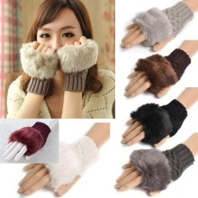 Faux Resemble Fur Winter Women Warm Mitten Fashion Knitted Gloves