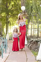 The newest summer maxi dress women and children maxi dress matching mother daughter fringe red dress sexy and new style