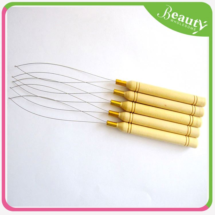 silicone micro link beads ,H0T013 hair extension pulling needle , hair knitting needles