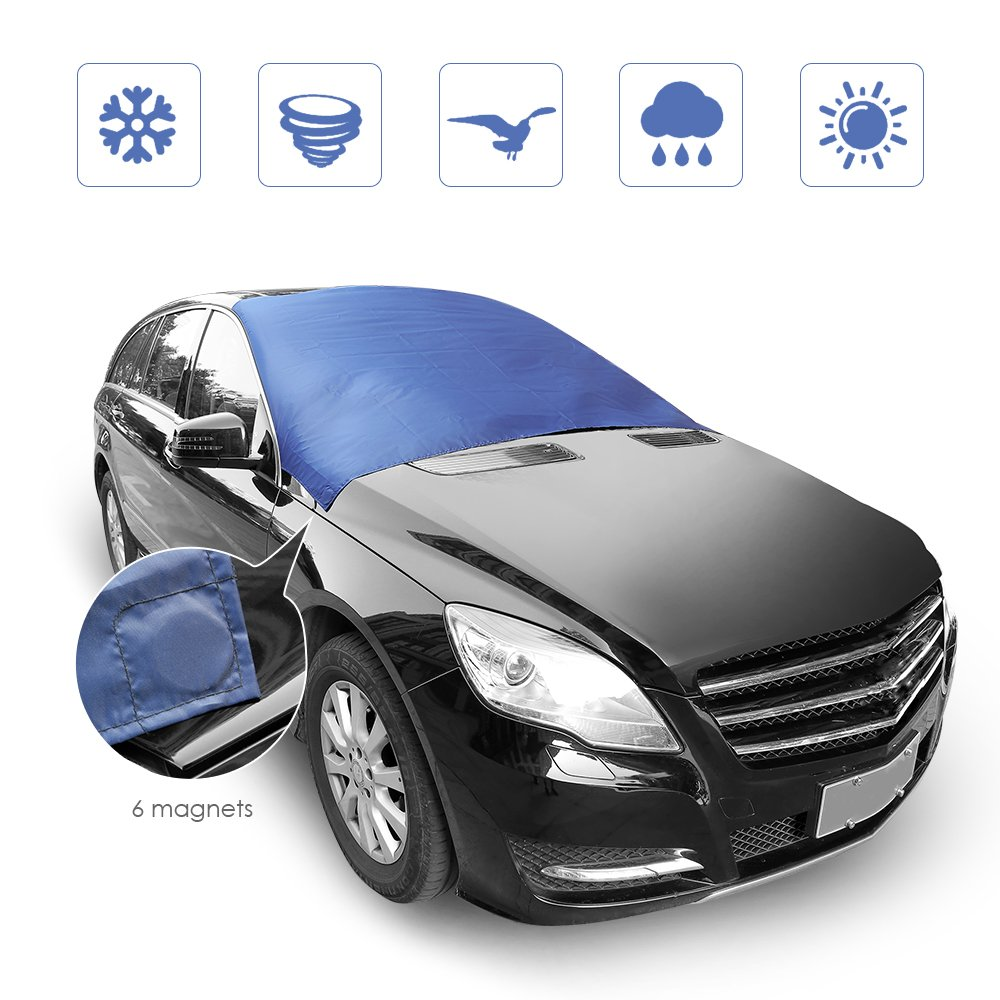 """Windshield Cover for Ice and Snow, Rectangle Ice Frost Rain Resistant Car Windshield Snow Cover, Extra Large Size for Most Vehicle,72""""x57"""" with 6 Magnetic Edges"""