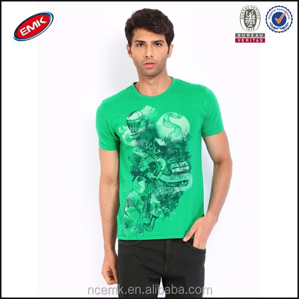 wholesale slim fit t shirt for men green printed t.shirt short sleeve mens tee shirts