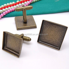 16-25mm Antique Bronze Square Blank Cufflink Base For Glass Cabochon