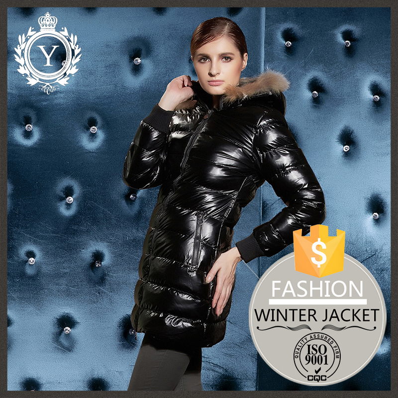 COUTUDI band name woman's long belt fitted black best sell leather goose down jacket with fur hood