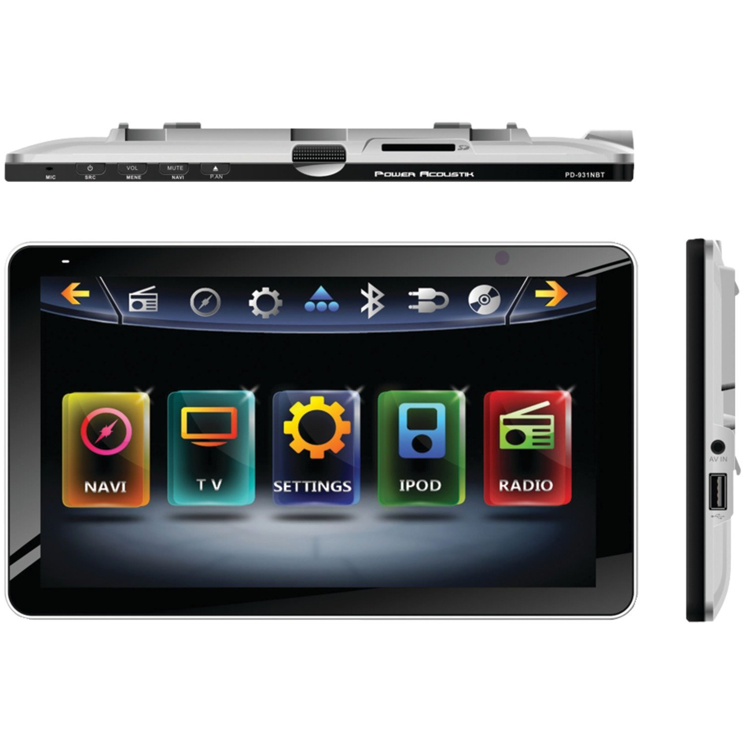 """POWER ACOUSTIK PD-931NB 9.3"""" INTEQ Single-DIN In-Dash LCD Touchscreen Multimedia Receiver with DVD Player & Bluetooth(R)"""
