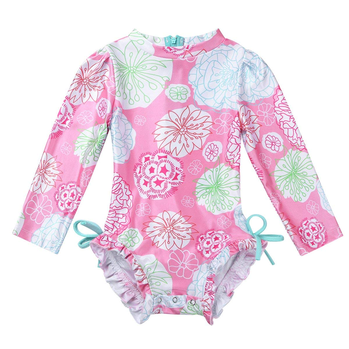 8e7addd8c1 Get Quotations · YiZYiF Baby/Toddler Girls' Flower Rash Guard Swimsuit Sun  Protection Bodysuit Swimwear