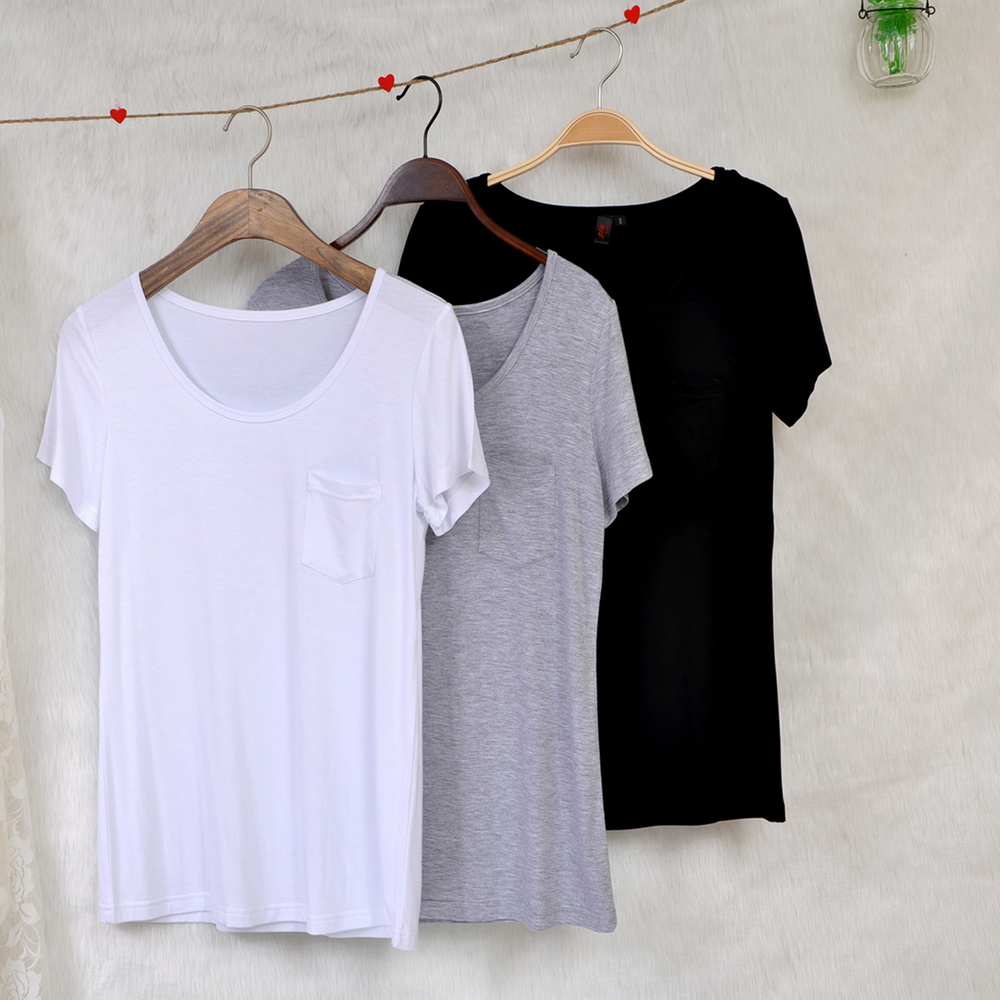 cb1ecb86e1a7 Loose White T Shirt Pocket Wholesale Blank Organic Cotton T Shirt ...