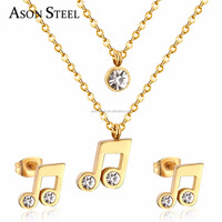 Stainless Steel Gold Plated Music Symbol Double Earrings And Necklace Set Bijouterias Xijiao Building Jewelry