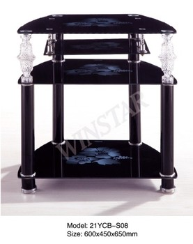 Modern Corner Tv Stand Led Coffee Table Wooden Tea Table With Glass Top  Design