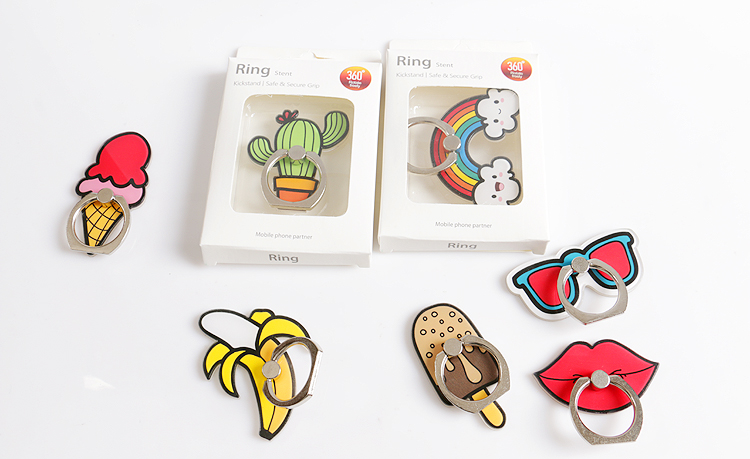 New fashion finger ring mobile phone holder smart cartoon rainbow cactus cell phone ring DIY decorative creative accessories