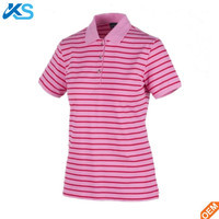 Wholesale females 98% Cotton 2% Elastane pique Stripes Stretch Polo shirt Summer