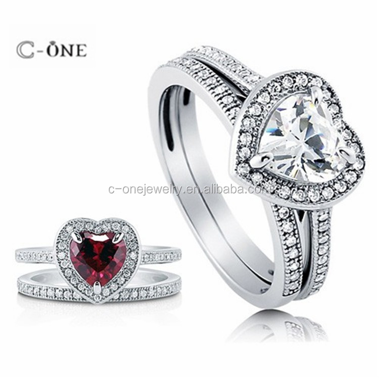 wholesale 925 sterling silver heart shape stone engagement ring and wedding band set