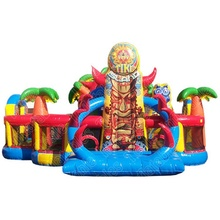 Tiki Island adventure inflatable obstacle / obstacle course/ kids inflatable playground game park with slide combo for toddler