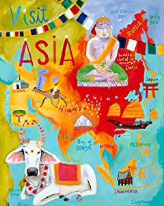 Oopsy Daisy Visit Asia Stretched Canvas Wall Art by Donna Ingemanson, 24 by 30-Inch