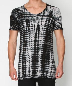 Sendok Terjun Leher Tee Shirt Dengan Dasi Mewarnai Warna Hitam Dan