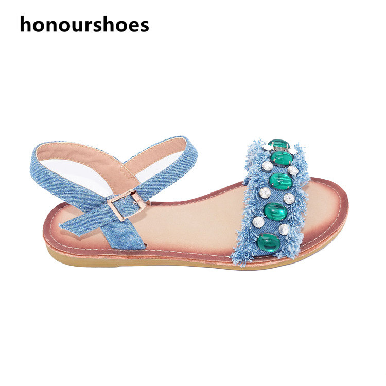 2017 popular designs lady sandals fashion sandals pu leather with green pearls sandals