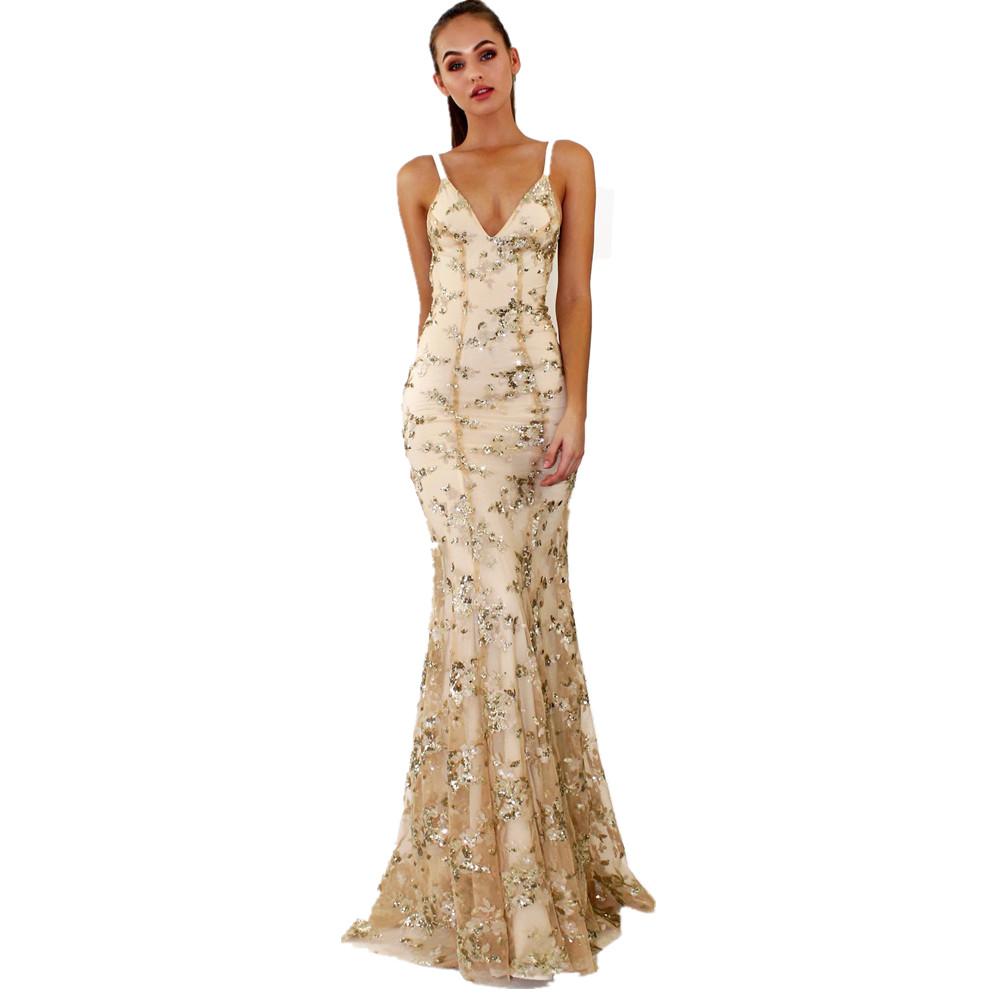 1d3f34e7f Sin mangas Correa vestido de lentejuelas vintage piso longitud vestido de  taobao cena vestido de noche