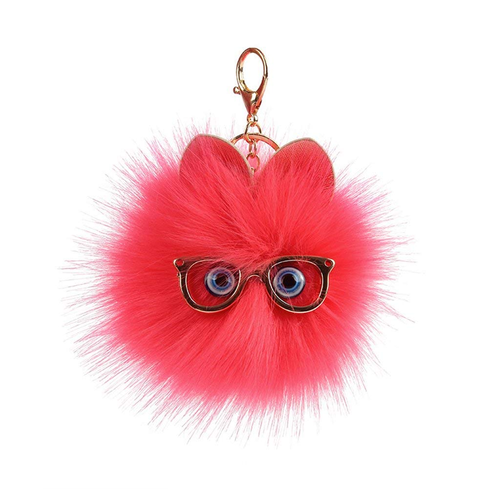 a3afda4918279 Get Quotations · Heaven2017 Cute Fluffy Owl Pompom Key Ring Holder Keychain  Women Car Bag Pendant Ornament - Watermelon