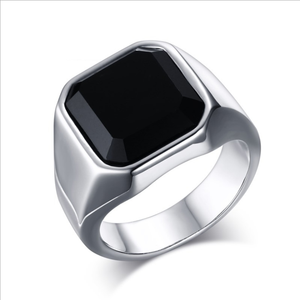 Creative Rings Wholesale Stainless Steel Black Agate Ring Steel Color Men's Rings Hand Decoration New Products