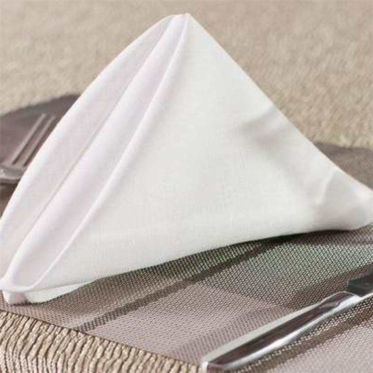 high quality color Satin Band soft acrylic Wedding table Plain embroidered woven cloth napkin