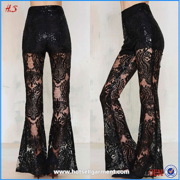 Latest Fashion Custom Black Pant Coat Picture Hot Girl Club Lace Flare Palazzo Pants