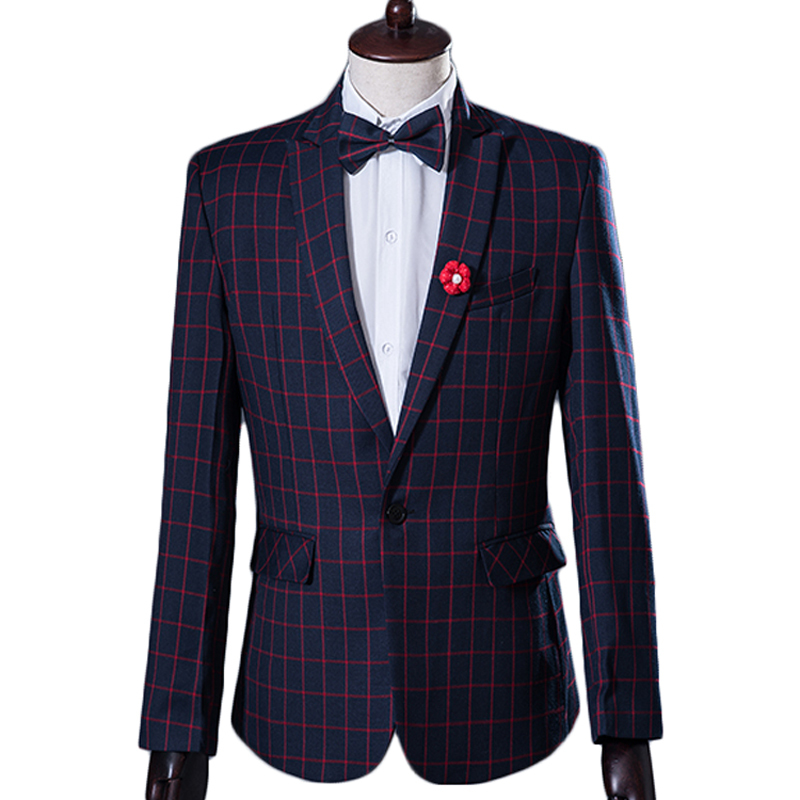2015 New Men Suit Korean Fashion Design Plaid Mens Prom Tuxedo Suits With Pants Brand Groom Wedding Suits For Men Costume Homme