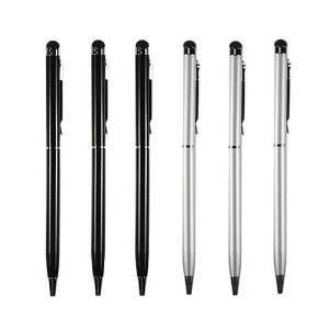 3 pcs Black + 3 pcs Silver Universal 2-in-1 Touch Screen Stylus Ballpoint Pen for iphone ipad Samsung Kindle HTC Tablet smartphone + 6 pcs extra Black Refill ink