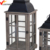 S/2 shabby chic brown wooden tealight candle lantern